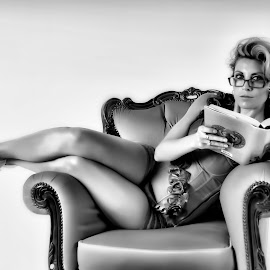 Naughty Teacher by Nathan Poole - People Portraits of Women ( woman, b&w, portrait, person )