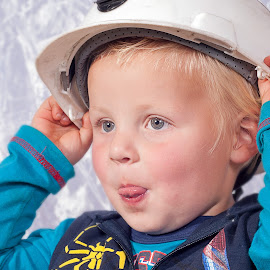 Hard Hat by Jacques Prinsloo - Babies & Children Toddlers ( sweet, tongue, little boy, cute, toddler, hard hat )