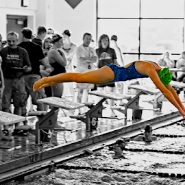 Fade to Black and White by B Grand - Sports & Fitness Swimming ( selective color, dive, swimming, jump,  )