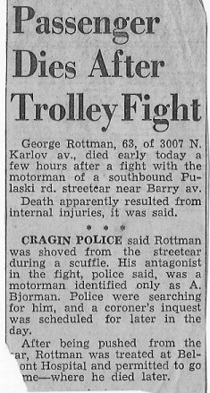 ROTTMAN, George ROTTMAN Article, Passenger Dies After Trolley Fight