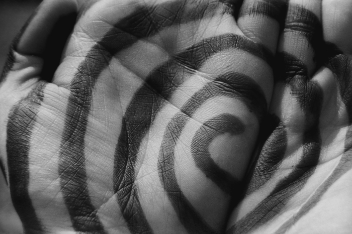 conceptual bw spiral hands photo