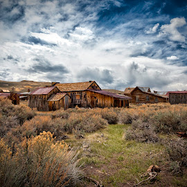 Bodie Ghost town1 by Marriela Durandegui - Landscapes Prairies, Meadows & Fields ( clouds, desert, wood, vintage, california, ghost town, bodie, sgaebrush, meadows, landscape, structures )