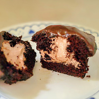 Triple Chocolate Inside-Out Cupcakes
