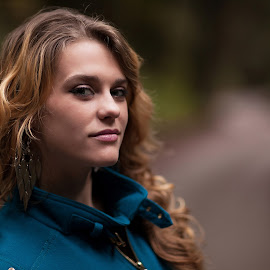 Blue Coat by Marco Dennis - People Portraits of Women ( blonde, curly, blue, woman, hair, coat )