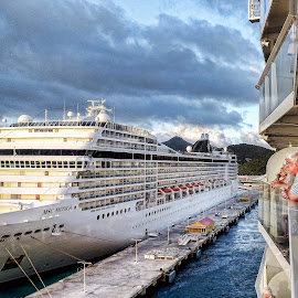 Leaving St. Maarten by Nick Goetz - Transportation Boats ( cruiseship, st. maarten, dock, leaving port )