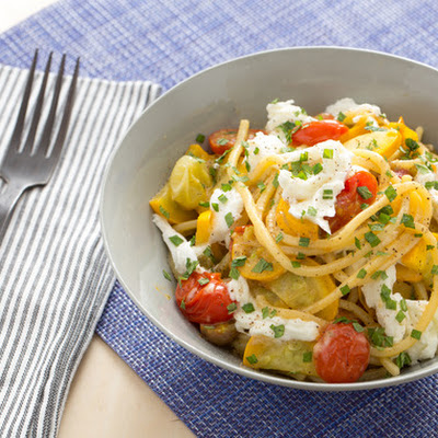Fresh Tonnarelli Pasta & Gold Bar Squash with Heirloom Cherry Tomatoes & Fresh Mozzarella