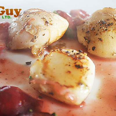 Pan Seared Scallops With A White Wine & Cherries Glamour Sauce