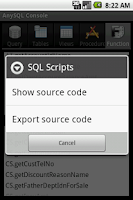 Screenshot of SQL Console