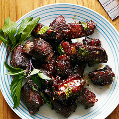 Chinese Glazed Riblets with Garlic and Thai Basil