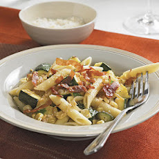 Penne with Crisp Prosciutto, Zucchini, and Corn