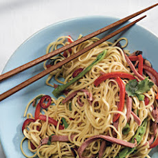 Chinese Egg Noodles with Smoked Duck and Snow Peas