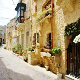SO COLORFUL STREET by Wojtylak Maria - City,  Street & Park  Street Scenes ( narrow, malta, street, architecture, city )