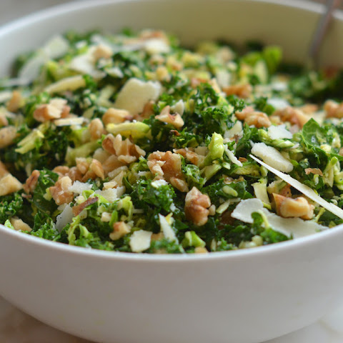 Kale & Brussels Sprout Salad with Walnuts, Parmesan & Lemon-Mustard Dressing