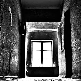 Horror corridor by Tomasz Romaszewski - Buildings & Architecture Other Interior ( abstract, contrast, black and white, art, architecture, city, b&w, landscape )