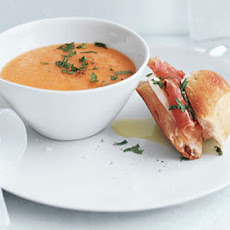 Cantaloupe Soup with Prosciutto-Mozzarella Sandwiches Recipe