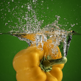 Yellow Pepper Splash by Troy Wheatley - Food & Drink Fruits & Vegetables ( water, pepper, wet, yellow, vegetable )