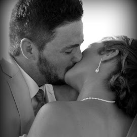 Beautiful bride and groom epic kiss! by Julie Dabour - Wedding Bride & Groom ( weddings, weddingideas, weddingphotography, brideandgroom, ido, marriage, weddingkiss, weddingceremony, blackandwhite, beautiful, capemayweddings, beach, love )
