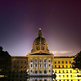 Legislative Assembly of Alberta, Edmonton by Jonathan Ferland-Valois - Buildings & Architecture Public & Historical ( exposure, legislative assembly, parliament, alberta, edmonton, night sky, legislature )