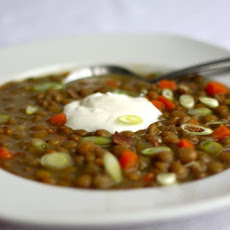 Simple French Lentil Soup with Bacon