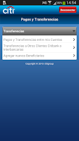 Screenshot of Citi Mobile PE
