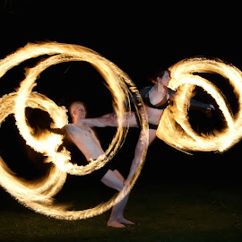 by Colin Dixon - Abstract Light Painting ( acrobats, painting, light, fire )