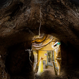 Drude  by Sandra Hilton Wagner - Digital Art People ( creative, dimentional, woman, tree stump, art, cave, light )