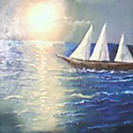 Sailing by Livia Copaceanu - Painting All Painting ( blue, sunset, seascape, boat )