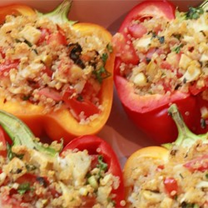 Vegetarian Stuffed Red Bell Peppers Recipe | Yummly