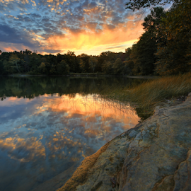 Sundown at Hammertown Lake by Jaki Miller - Landscapes Waterscapes ( clouds, reflection, ohio, nature, sunset, landscape photography, lake, landscape )