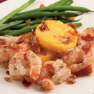 Shrimp Saltimbocca with Polenta