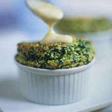 Spinach and Ricotta Souffles with Anchovy Sauce