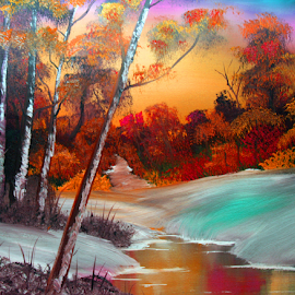 Snowy Pond by Donald Lancaster - Painting All Painting