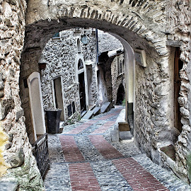 Coming down from the castle by Roberta Sala - City,  Street & Park  Street Scenes ( dolceacqua, street, street scene, italy, street photography )
