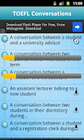 Screenshot of TOEFL Listening (Conversation)
