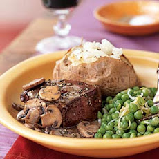 Fresh Herb-Coated Beef Tenderloin Steaks with Mushroom Gravy