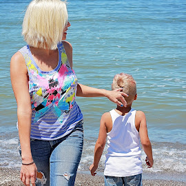Summer days by On the Lake Photography - People Family ( love, sand, mother, lake, son, beach )