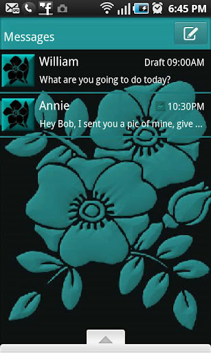 Go SMS Pro Theme Teal Flower