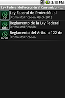 Screenshot of Ley Federal de Protección al C