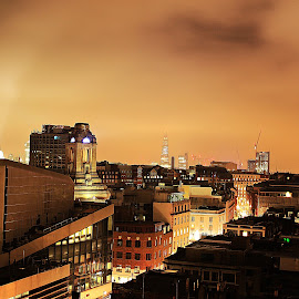 A spy on a roof by Uldis Kalnins - Buildings & Architecture Office Buildings & Hotels ( shard, london, roofs, night )