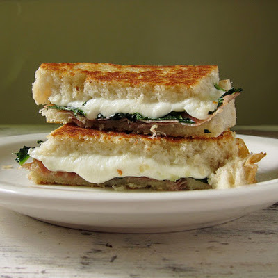 Grilled Cheese With Mozzarella, Kale And Proscuitto