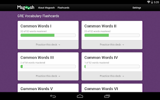 Screenshot of GRE Flashcards