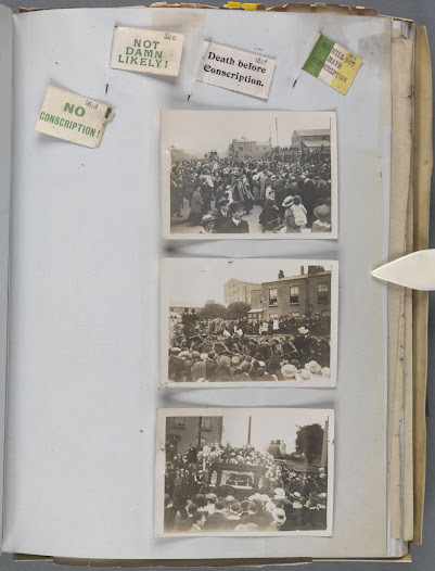 Anti-conscription rally pins and photographs of funeral
