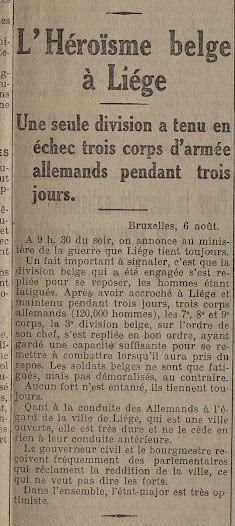 Article mettant en valeur les exploits des troupes belges