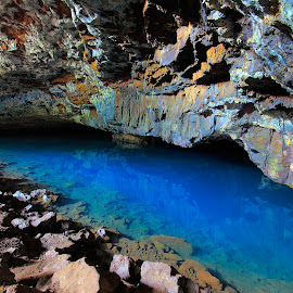 The Blue Room by Stephen Kennedy - Landscapes Caves & Formations ( kauai, walls, blue, blue room, rock, lava tube, landscape, cave, hawaii, formation )