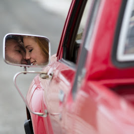 Rearview Kiss by Craig Lybbert - People Couples ( mirror, kiss, red, pickup, romance )