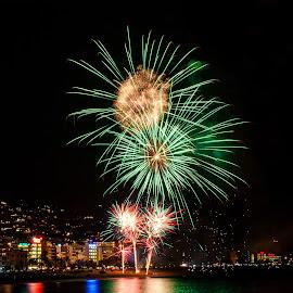 Santa Cristina Fireworks by Daniel Rotkiewicz - Abstract Fire & Fireworks ( sea, fireworks, lloret de mar, show, beach, spain, costa brava, santa cristina,  )