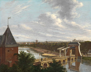 RIJKS: Johannes Jelgerhuis: The Amsterdam Outer Canal near the Leidsepoort Seen from the Theatre 1813