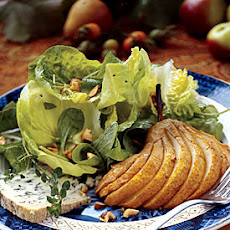 Honey-Roasted Pear Salad with Thyme Verjus Dressing