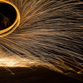 by Penny Vinson - Abstract Light Painting ( selfie, self shot, steel wool, self portrait, sparks, light, fire, portrait )