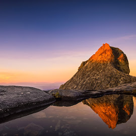 Sun Kissed Peak by Zac Robinson - Landscapes Mountains & Hills ( reflection, kota kinabalu, mount kinabalu, malaysia, sunrise, kk, mt. kinabalu, sabah )